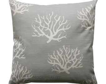 Grey Pillow Sham, Coastal Grey Isadella Pillow Cover, Zippered Pillow, Ocean Coral Pillow, Nautical Decor, Beach House, Nautical Pillow