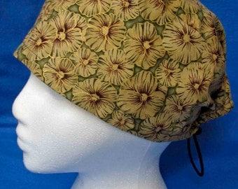 SALE...Green Flower Print Skull Cap (biker/chemo/surgical)