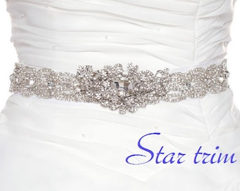 SALE LENA crystal wedding bridal sash belt