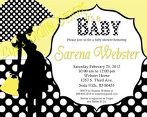 Baby Shower Invitation Umbrella Silhouette Yellow Polka Dots Sonogram Option Customizable Printable