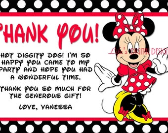 Minnie Mouse Thank You Card Red White Black Polka Dots Customizable Printable