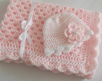 Crochet Baby Blanket / Afghan and Hat, Pink White Granny Square Baby Girl Set Shower Gift