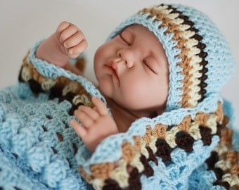 Crochet Baby Blanket / Afghan and Hat,  Granny Square Blue Brown Toffi and Cream , Baby Shower Gift