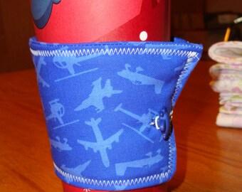 Blue Airplane Print Coffee Cup Cozy