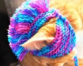 Mohawk Cat Hat - Pink, Purple, and Teal Tie Dye - Hand Knit Cat Costume (READY TO SHIP)