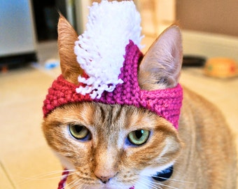 Mohawk Cat Hat - Pink and White - Hand Knit Cat Costume