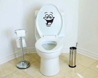 Smiley Face Toilet Decal Wall Mural Art Decor Funny Bathroom Sticker ...