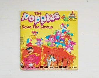 The Popples Save The Circus Vinyl Record and Book, Vintage The Popples 1980's Collectibles