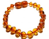 Baltic Amber Teething Bracelet/Anklet - Knotted - Honey Color - Made in Canada