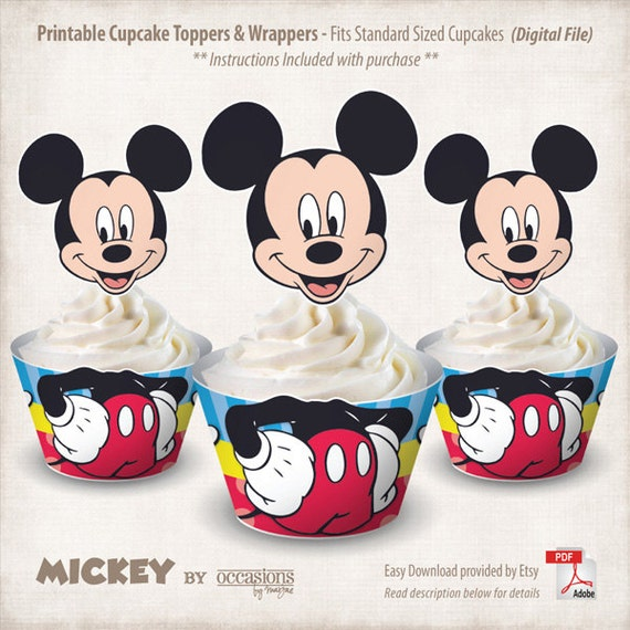 INSTANT DOWNLOAD Printable Mickey Mouse Cupcake Toppers Mickey Mouse Cupcake Toppers Printable