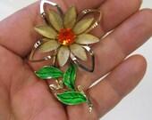 Vintage Red Orange Rhinestone Enamel Flower Brooch In Gold tone metal, Vintage Flower Brooch