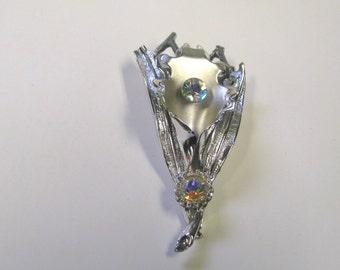 Vintage Rhinestone Silver tone Flower Brooch, Wear or Repurpose