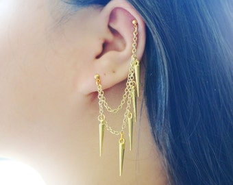 Dangling Gold Spikes Cartilage Earrings