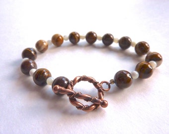 Zebra Jade and White Shell Neutral Boho Bracelet With Copper Toggle Clasp