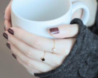 Delicate Handmade Black Gem 14K Gold Filled Chain Ring, Jet Gemstone, gifts under 15