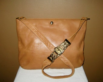Vintage TAN Leather RUTH SALTZ Purse Pocket Book Handbag Shoulder Bag Gold Hardware Beautifully Lined