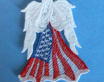 Lace Applique for Crafts or Crazy Quilt - Patriotic Angel