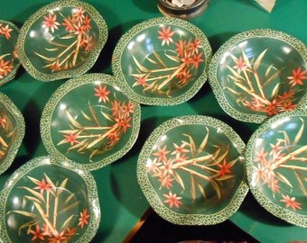 Set of 11 vintage painted tinware bar or patio set with 8 bowls and 3 ash trays with exotic floral bamboo design, green, orange red, peach