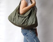 Sale SALE 40% - Dark Army Green, School Bag, Shoulder Bag, Messenger Bag, Diaper Bag, Women, Canvas School bag, crossbody bag