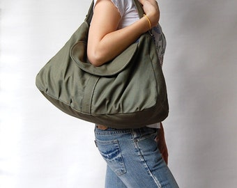 Christmas in July SALE - Dark Army Green, School Bag, Shoulder Bag, Messenger Bag, Diaper Bag, Women, Canvas School bag, 40% Off