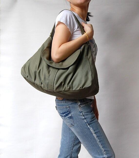 Sale SALE SALE - Dark Army Green, School Bag, Shoulder Bag, Messenger Bag, Diaper Bag, Women, Canvas School bag, crossbody bag 40% Off