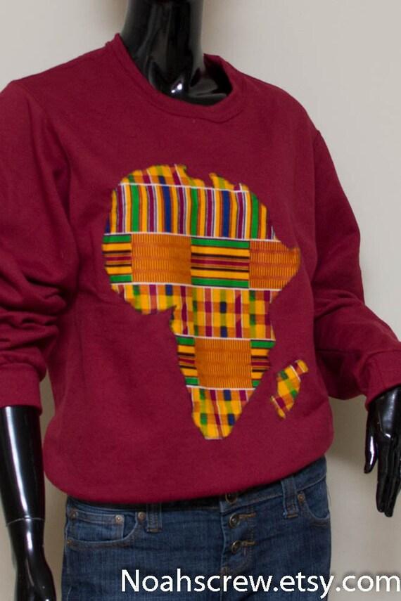 Red Sweatshirt Kente African Continent Mens Sweat Shirt