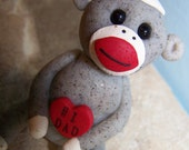 Clay Valentine's Day sock monkey for Dad