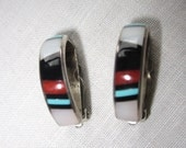 Sterling Inlay Clip Earrings Vintage Signed R.U. w/ Turquoise - Mother of Pearl - Jet - Coral