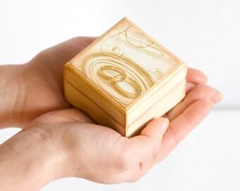 Gold Ring Bearer, Wedding Box, Proposal Box, Wedding Rings, Wood Box, Cream and Golden, Wedding Pillow, Pastel Colors