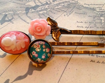 Rose Bobby Pins, Accessories, Hair Accessories, Cameo Hair Pins, Pink, Cream, Turquoise