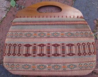 Vintage 1970s Southwestern Pattern Wooden Handle Purse