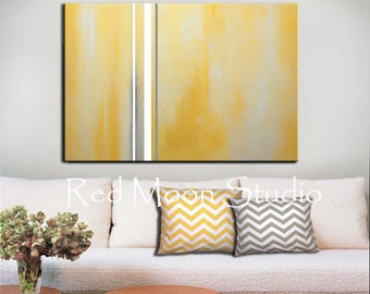 Abstract Art - Large 48x36 Painting, Yellow and Gray Grey Painting, Original Abstract Art, Pastel