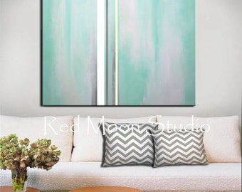 Abstract Art - Large 48x36  Abstract Painting, Mint Green Turquoise Green Sea Green Painting, Original Art, Pastel