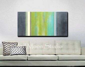 Abstract Art Painting, Abstract Painting, Large 48x24, Original Green Abstract Art, Modern Green Painting