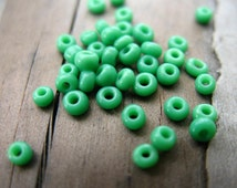 50 grams Light Green Glass Seed Beads Glass 2mm or size 10/0 2mm