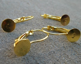 10 pairs Gold Leverback Earrings with 8mm Flat Pads