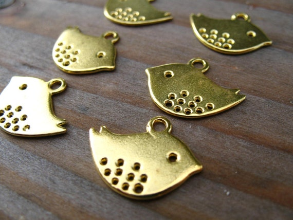 10 Gold Plated Bird Charms 16mm