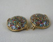 Colorful 1960s HILLCRAFT Castlecraft  Confetti Lucite EARRINGS Slide Clips