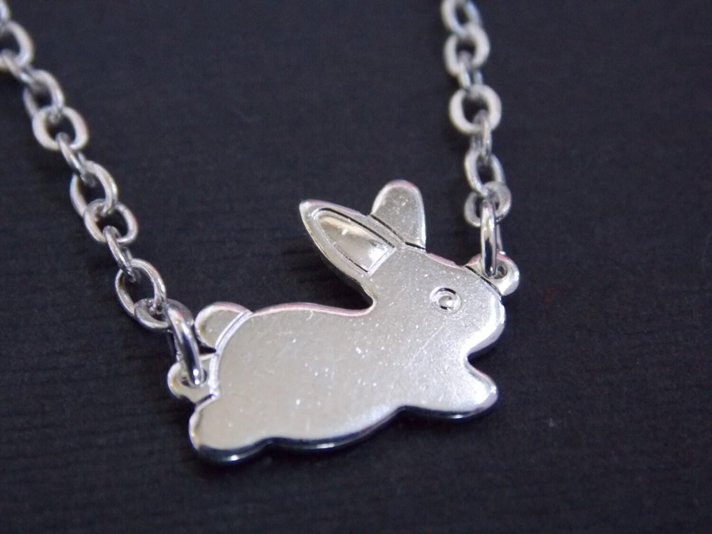 silver necklace rabbit necklace bunny necklace silver