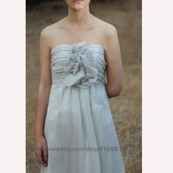 2015 Grey Bridesmaid dress, Flower Wedding dress, Rosette Chiffon dress, Party dress, Strapless dress, Formal dress, Prom dress (B007)