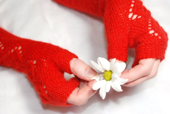 Red Knit Gloves, Knit Mittens, Red Knit Mittens,Wool Mittens, Fingerless Mittens, Arm Warmers