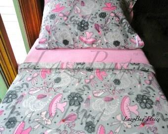 Ballerina Bedding Children's Fleece Bed Set for Girls Handmade Fleece Sheets Fits Crib and Toddler Beds