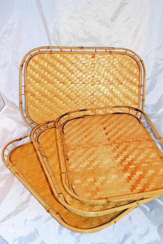 4 Vintage Trays Bamboo Wicker Retro Tiki Luau Bed Serving Lap