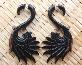 AMRIN Earrings - Hand Carved Fake Gauges - Wing Design - Tribal Jewelry