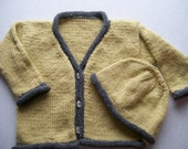 Wheat with Grey Trim Cardigan and Hat