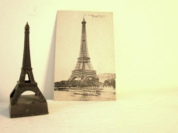 antique eiffel tower postcard black and white