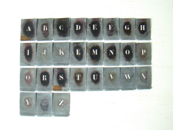 rare antique french zinc stencils alphabet letter set from france small aluminum stencils