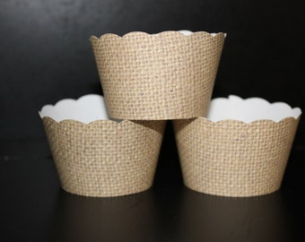 Burlap design Cupcake wrapper