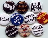 "Psychology Sociology Philosophy terms quotes lingo 10 Pinback 1"" Buttons Badges Pins set A"