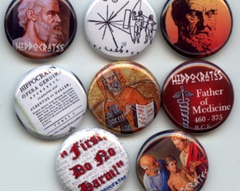 "HIPPOCRATES Ancient Greek Physician Doctor 8 Pinback 1"" Buttons Badges Pins"